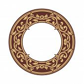 Golden Floral Circle Pattern Frame, Border Circle Pattern Frame, Engraving Circle Pattern Frame, Cir poster