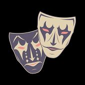 Original Vector Illustration Of Theatrical Masks On A Black Background. Comedy And Tragedy. Vintage  poster