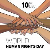 World Human Rights Day Concept Background. Cartoon Illustration Of World Human Rights Day Vector Con poster
