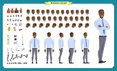 People Character Business Set. Front, Side, Back View Animated Character. Black American Businessman poster