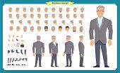 Front, Side, Back View Animated Character. Manager Character Creation Set With Various Views, Hairst poster
