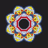 Colorful Chakra Ornament In Tibetian-color Style On Dark Background. poster