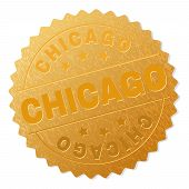 Chicago Gold Stamp Award. Vector Gold Medal With Chicago Text. Text Labels Are Placed Between Parall poster
