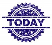 Today Stamp Seal Watermark With Distress Style. Blue Vector Rubber Print Of Today Tag With Unclean T poster