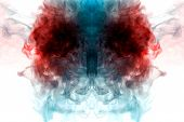 Background Of Colored Smoke Of Turquoise, Blue And Dark Red Color Soaring At The Top In The Form Of  poster