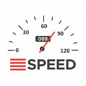 Car Speedometer With Speed Level Scale. Dashboard Element Panel Speed poster