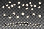 Glowing Lights Isolated On Transparent Background. Set Of Realistic Glowing Garlands. Vector Illustr poster
