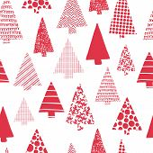 Christmas Trees Modern Vector Seamless Pattern. Red Christmas Tree Silhouettes On A White Background poster