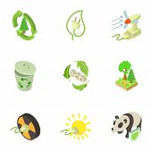 Pure Energy Icons Set. Isometric Set Of 9 Pure Energy Icons For Web Isolated On White Background poster