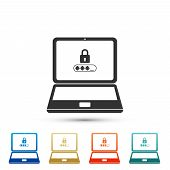 Laptop With Lock And Password Form Page On Screen Icon Isolated On White Background. Laptop With Pas poster