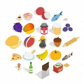 Tasty Icons Set. Isometric Set Of 25 Tasty Vector Icons For Web Isolated On White Background poster