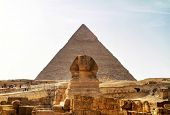 Sphinx and Pyramid of Chefren in Giza