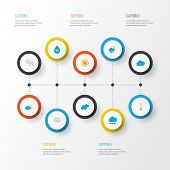 Climate Icons Flat Style Set With Cloudy, Wind, Sunny And Other Crescent Elements. Isolated  Illustr poster