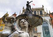 stock photo of polonia  - Neptune fountain of Gdansk  - JPG