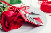 Valentines Day Tabble Setting With Cutlery poster