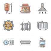 Heating Icons Set. Cartoon Set Of 9 Heating Icons For Web Isolated On White Background poster