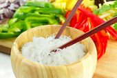 image of chinese parsley  - Chinese rice noodles with vegetable ingredients - JPG