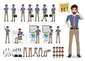 Businessman Vector Character Creation Set. Male Business Cartoon Character Holding Mobile Phone And  poster