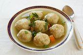 Jewish matzo balls soup