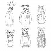 Fashion Animal Characters. Hipster Hand Drawn Pictures Animals In Various Clothes Vector Pictures. A poster