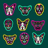 Fashion Patch Badges With Dogs, Bulldog, Skulls, Calavera, And Other. Very Large Set Of Girlish And  poster