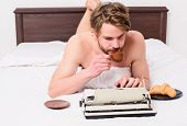 Man Writer Lay Bed Bedclothes Working Book. Writer Romantic Author Used Old Fashioned Typewriter. Au poster