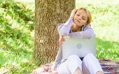 Dream About New Job Or Relocation. Girl Laptop Dreaming In Park Sit On Grass. Dream About Successful poster