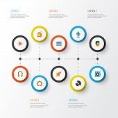 Audio Icons Flat Style Set With Silent, Samba, Listen And Other Button Elements. Isolated Vector Ill poster