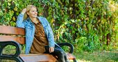 Woman Blonde Take Break Relaxing In Park. You Deserve Break For Relax. Ways To Give Yourself Break A poster