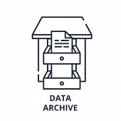 Data Archive Line Icon Concept. Data Archive Vector Linear Illustration, Symbol, Sign poster