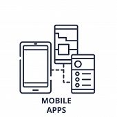 Mobile Apps Line Icon Concept. Mobile Apps Vector Linear Illustration, Symbol, Sign poster