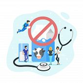 Lactose Intolerance Vector Concept. Doctor Standing Around Big Pack Of Milk And Stethoscope. Prohibi poster