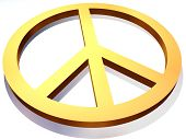 stock photo of peace-sign  - A golden peace or disarmament sign on white background - JPG