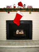 Christmas Decorated Fireplace