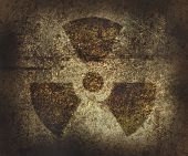 pic of radium  - Rusty radioactive area symbol - JPG