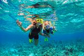 Happy Family - Mother, Kid In Snorkeling Mask Dive Underwater With Tropical Fishes In Coral Reef Sea poster