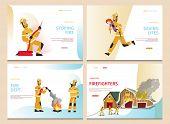 Vector Illustration Cartoon Concept Firefighter. Banner Set Stoping Fire, Saving Lifes, Fire Dept, F poster