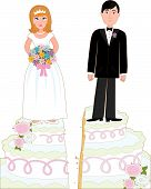 image of split ends  - Bride and groom standing on a wedding cake that has split down the middle suggesting a divorce - JPG
