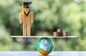 University Education Learning Abroad International Idea. Student Graduation Save Coins Placed On Moc poster