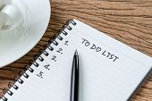 To Do List Concept, Pen On White Paper Note Pad With Handwritten Headline As To Do List And Numbers  poster