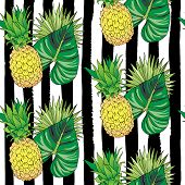 Vector Hand Drawn Abstract Seamless Pattern Of Exotic Fruit Pineapple And Leaves On Black Strips. An poster