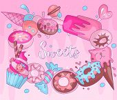 Cute Funny Girl Teenager Colored Icon Round Set Sweets, Fashion Cute Teen And Princess Icons. Magic  poster