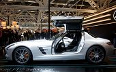 BOLOGNA, ITALY - DECEMBER 8: Mercedes-Benz shows e beautiful SLS AMG on December 8th 2010 at the Motorshow in Bologna, Italy. It is the heir to the old 300 SL, popular in the Seventies.