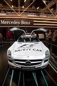 BOLOGNA, ITALY - DECEMBER 8: Mercedes-Benz shows a beautiful SLS AMG on December 8, 2010 at the Motorshow in Bologna, Italy. It is the heir to the old 300 SL, popular in the Seventies.