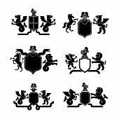 Heraldic Shield And Knight Helmet Set Silhouette. Fantastic Beasts. Template Heraldry Design Element poster