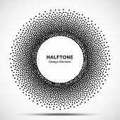 Halftone Circular Dotted Frame. Circle Decorative Dots Isolated On The White Background. Logo Design poster