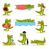 Flat Vector Set Of Funny Crocodile In Different Actions. Green Predatory Reptile. Funny Humanized An poster