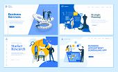 Set Of Flat Design Web Page Templates Of Business Apps And Services, Strategic Planning, Market Rese poster