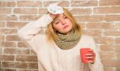 Girl In Scarf Hold Tea Mug And Tissue. Runny Nose And Other Symptoms Of Cold. Cold And Flu Remedies. poster
