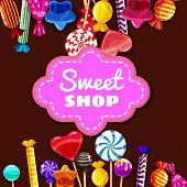Candy Sweet Shop Background Set Of Different Colors Of Candy, Candy, Sweets, Candy, Jelly Beans. Tem poster